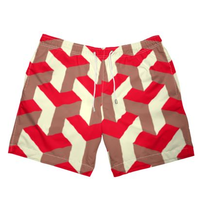 Heart in a cube - Mens Swimming Shorts - Abstract geometry, red, contrasting, bright, elegant, statement, futuristic, spectacular, graphic, noble, asymmetrical, effective, stylish gift - design by Tiana Lofd