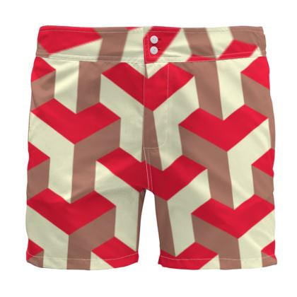 Heart in a cube - Board Shorts - Abstract geometry, red, contrasting, bright, elegant, statement, futuristic, spectacular, graphic, noble, asymmetrical, effective, stylish gift - design by Tiana Lofd