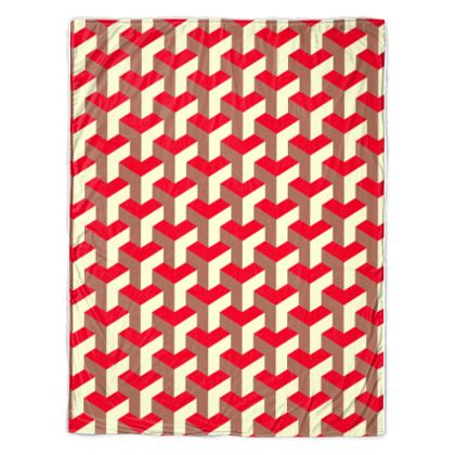 Heart in a cube - Throw - Abstract geometry, red, contrasting, bright, elegant, statement, futuristic, spectacular, graphic, noble, asymmetrical, effective, stylish gift - design by Tiana Lofd