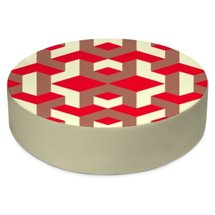Heart in a cube - Round Floor Cushions - Abstract geometry, red, contrasting, bright, elegant, statement, futuristic, spectacular, graphic, noble, asymmetrical, effective, stylish gift - design by Tiana Lofd
