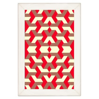 Heart in a cube - Quilts - Abstract geometry, red, contrasting, bright, elegant, statement, futuristic, spectacular, graphic, noble, asymmetrical, effective, stylish gift - design by Tiana Lofd