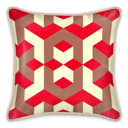 Heart in a cube - Silk Cushions - Abstract geometry, red, contrasting, bright, elegant, statement, futuristic, spectacular, graphic, noble, asymmetrical, effective, stylish gift - design by Tiana Lofd