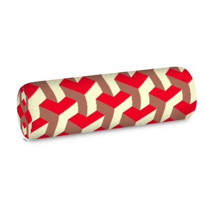 Heart in a cube - Big Bolster Cushion - Abstract geometry, red, contrasting, bright, elegant, statement, futuristic, spectacular, graphic, noble, asymmetrical, effective, stylish gift - design by Tiana Lofd
