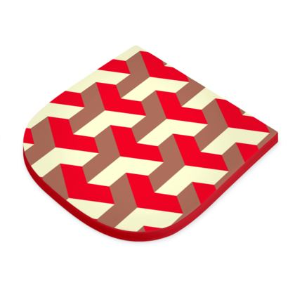 Heart in a cube - Seat Pad - Abstract geometry, red, contrasting, bright, elegant, statement, futuristic, spectacular, graphic, noble, asymmetrical, effective, stylish gift - design by Tiana Lofd