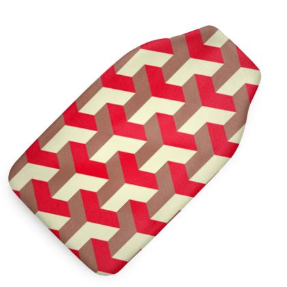Heart in a cube - Hot Water Bottle - Abstract geometry, red, contrasting, bright, elegant, statement, futuristic, spectacular, graphic, noble, asymmetrical, effective, stylish gift - design by Tiana Lofd