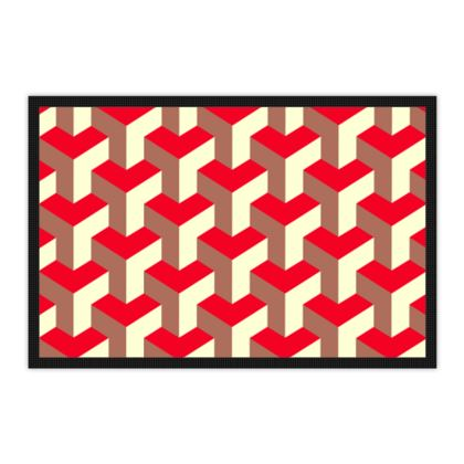 Heart in a cube - Mats - Abstract geometry, red, contrasting, bright, elegant, statement, futuristic, spectacular, graphic, noble, asymmetrical, effective, stylish gift - design by Tiana Lofd