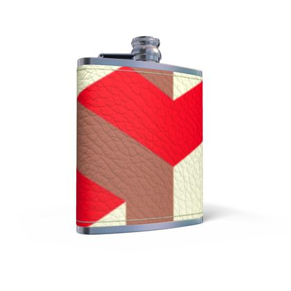Heart in a cube - Leather Wrapped Hip Flask - Abstract geometry, red, contrasting, bright, elegant, statement, futuristic, spectacular, graphic, noble, asymmetrical, effective, stylish gift - design by Tiana Lofd