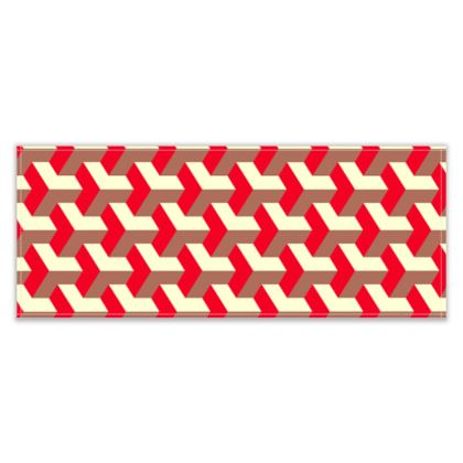 Heart in a cube - Table Runner - Abstract geometry, red, contrasting, bright, elegant, statement, futuristic, spectacular, graphic, noble, asymmetrical, effective, stylish gift - design by Tiana Lofd