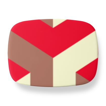 Heart in a cube - Lunch Box - Abstract geometry, red, contrasting, bright, elegant, statement, futuristic, spectacular, graphic, noble, asymmetrical, effective, stylish gift - design by Tiana Lofd