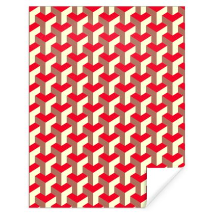 Heart in a cube - Gift Wrap - Abstract geometry, red, contrasting, bright, elegant, statement, futuristic, spectacular, graphic, noble, asymmetrical, effective, stylish gift - design by Tiana Lofd