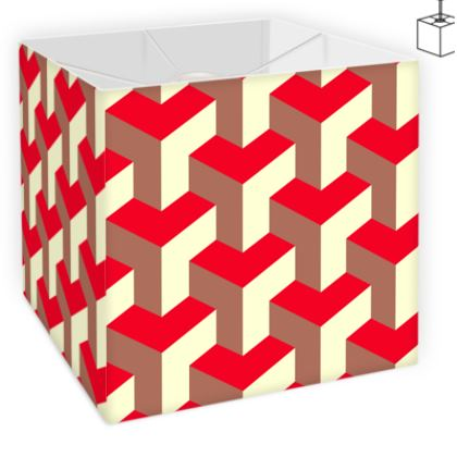 Heart in a cube - Square Lamp Shade - Abstract geometry, red, contrasting, bright, elegant, statement, futuristic, spectacular, graphic, noble, asymmetrical, effective, stylish gift - design by Tiana Lofd