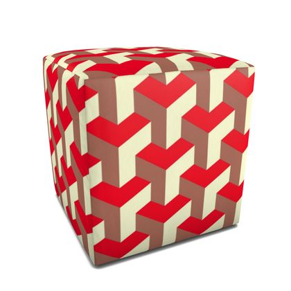 Heart in a cube - Square Pouffe - Abstract geometry, red, contrasting, bright, elegant, statement, futuristic, spectacular, graphic, noble, asymmetrical, effective, stylish gift - design by Tiana Lofd