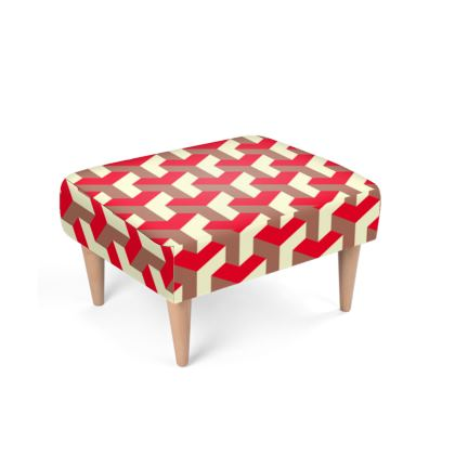 Heart in a cube - Footstool - Abstract geometry, red, contrasting, bright, elegant, statement, futuristic, spectacular, graphic, noble, asymmetrical, effective, stylish gift - design by Tiana Lofd