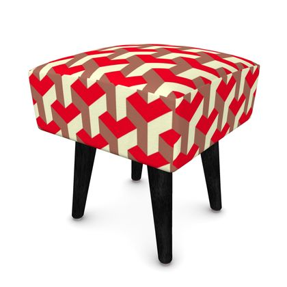 Heart in a cube - Footstool (Round, Square, Hexagonal) - Abstract geometry, red, contrasting, bright, elegant, statement, futuristic, spectacular, graphic, noble, asymmetrical, effective, stylish gift - design by Tiana Lofd