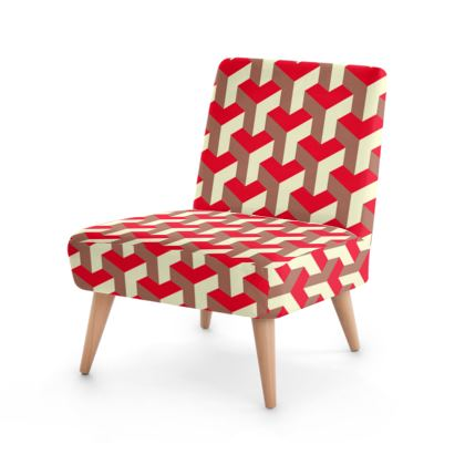 Heart in a cube - Occasional Chair - Abstract geometry, red, contrasting, bright, elegant, statement, futuristic, spectacular, graphic, noble, asymmetrical, effective, stylish gift - design by Tiana Lofd