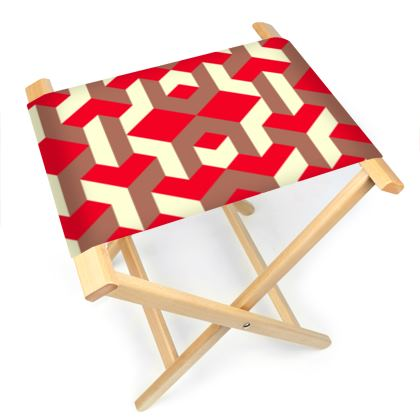 Heart in a cube - Folding Stool Chair - Abstract geometry, red, contrasting, bright, elegant, statement, futuristic, spectacular, graphic, noble, asymmetrical, effective, stylish gift - design by Tiana Lofd