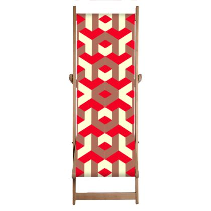 Heart in a cube - Deckchair Sling - Abstract geometry, red, contrasting, bright, elegant, statement, futuristic, spectacular, graphic, noble, asymmetrical, effective, stylish gift - design by Tiana Lofd