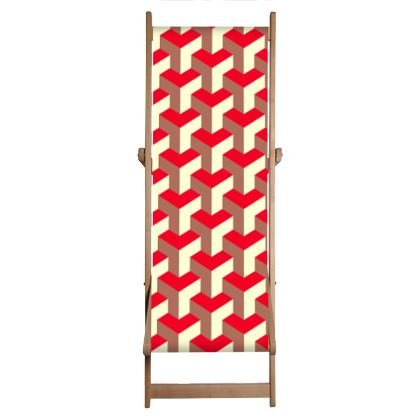 Heart in a cube - Deckchair - Abstract geometry, red, contrasting, bright, elegant, statement, futuristic, spectacular, graphic, noble, asymmetrical, effective, stylish gift - design by Tiana Lofd