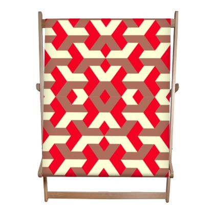 Heart in a cube - Double Deckchair - Abstract geometry, red, contrasting, bright, elegant, statement, futuristic, spectacular, graphic, noble, asymmetrical, effective, stylish gift - design by Tiana Lofd
