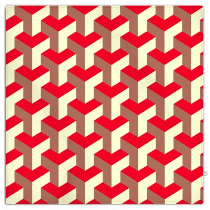 Heart in a cube - Picnic Blanket - Abstract geometry, red, contrasting, bright, elegant, statement, futuristic, spectacular, graphic, noble, asymmetrical, effective, stylish gift - design by Tiana Lofd