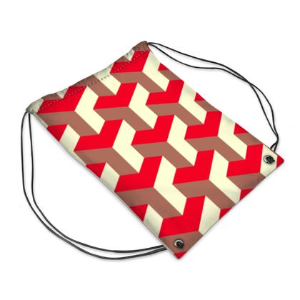 Heart in a cube - Drawstring PE Bag - Abstract geometry, red, contrasting, bright, elegant, statement, futuristic, spectacular, graphic, noble, asymmetrical, effective, stylish gift - design by Tiana Lofd
