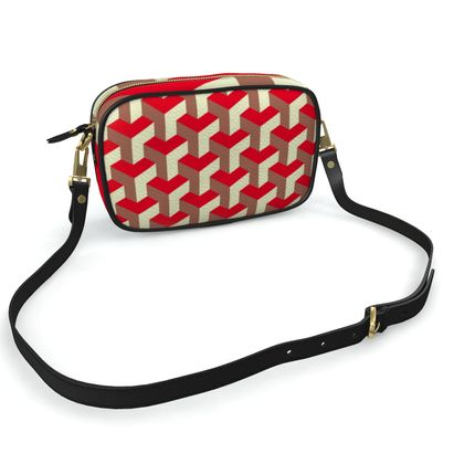 Heart in a cube - Camera Bag - Abstract geometry, red, contrasting, bright, elegant, statement, futuristic, spectacular, graphic, noble, asymmetrical, effective, stylish gift - design by Tiana Lofd
