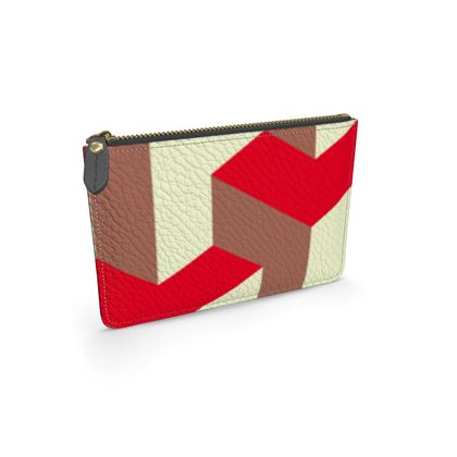 Heart in a cube - Leather pouch  - Abstract geometry, red, contrasting, bright, elegant, statement, futuristic, spectacular, graphic, noble, asymmetrical, effective, stylish gift - design by Tiana Lofd