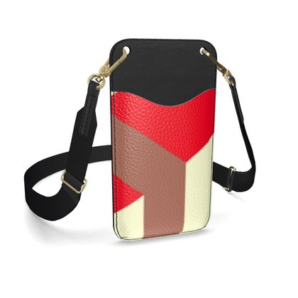 Heart in a cube - Leather Phone Case With Strap - Abstract geometry, red, contrasting, bright, elegant, statement, futuristic, spectacular, graphic, noble, asymmetrical, effective, stylish gift - design by Tiana Lofd