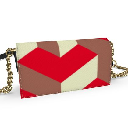 Heart in a cube - Oana Evening bag - Abstract geometry, red, contrasting, bright, elegant, statement, futuristic, spectacular, graphic, noble, asymmetrical, effective, stylish gift - design by Tiana Lofd