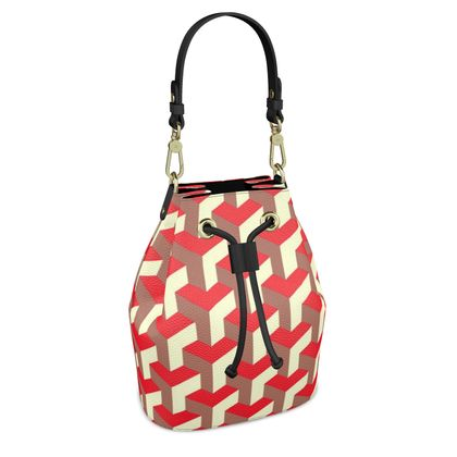 Heart in a cube - Bucket Bag - Abstract geometry, red, contrasting, bright, elegant, statement, futuristic, spectacular, graphic, noble, asymmetrical, effective, stylish gift - design by Tiana Lofd