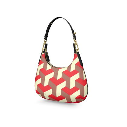 Heart in a cube - Mini Curve Bag - Abstract geometry, red, contrasting, bright, elegant, statement, futuristic, spectacular, graphic, noble, asymmetrical, effective, stylish gift - design by Tiana Lofd