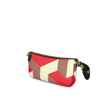 Heart in a cube - Baguette Bag - Abstract geometry, red, contrasting, bright, elegant, statement, futuristic, spectacular, graphic, noble, asymmetrical, effective, stylish gift - design by Tiana Lofd