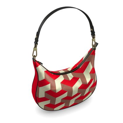 Heart in a cube - Curve Hobo Bag - Abstract geometry, red, contrasting, bright, elegant, statement, futuristic, spectacular, graphic, noble, asymmetrical, effective, stylish gift - design by Tiana Lofd