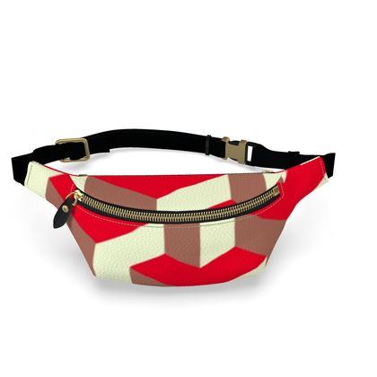 Heart in a cube - Fanny Pack - Abstract geometry, red, contrasting, bright, elegant, statement, futuristic, spectacular, graphic, noble, asymmetrical, effective, stylish gift - design by Tiana Lofd