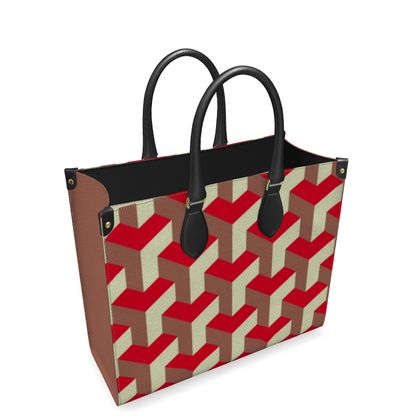 Heart in a cube - Leather Shopper Bag - Abstract geometry, red, contrasting, bright, elegant, statement, futuristic, spectacular, graphic, noble, asymmetrical, effective, stylish gift - design by Tiana Lofd