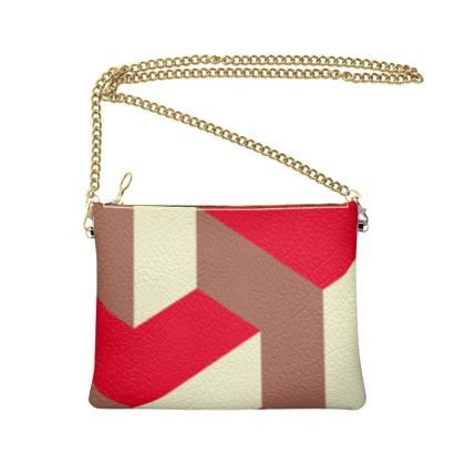 Heart in a cube - Crossbody Bag With Chain - Abstract geometry, red, contrasting, bright, elegant, statement, futuristic, spectacular, graphic, noble, asymmetrical, effective, stylish gift - design by Tiana Lofd