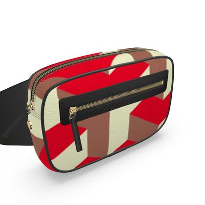 Heart in a cube - Belt Bag - Abstract geometry, red, contrasting, bright, elegant, statement, futuristic, spectacular, graphic, noble, asymmetrical, effective, stylish gift - design by Tiana Lofd