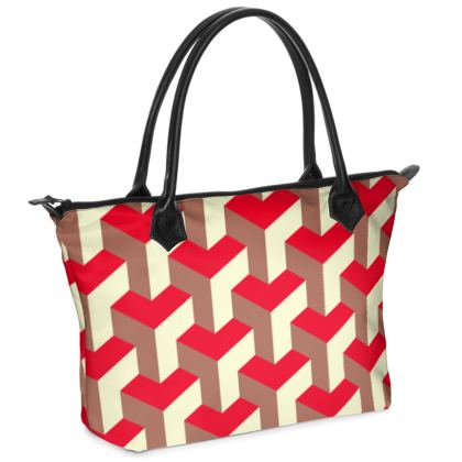 Heart in a cube - Zip Top Handbag - Abstract geometry, red, contrasting, bright, elegant, statement, futuristic, spectacular, graphic, noble, asymmetrical, effective, stylish gift - design by Tiana Lofd
