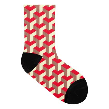 Heart in a cube - Socks - Abstract geometry, red, contrasting, bright, elegant, statement, futuristic, spectacular, graphic, noble, asymmetrical, effective, stylish gift - design by Tiana Lofd