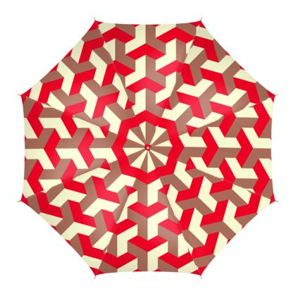 Heart in a cube - Umbrella - Abstract geometry, red, contrasting, bright, elegant, statement, futuristic, spectacular, graphic, noble, asymmetrical, effective, stylish gift - design by Tiana Lofd