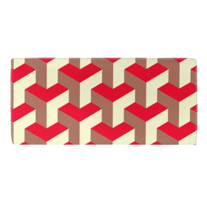 Heart in a cube - Travel Wallet - Abstract geometry, red, contrasting, bright, elegant, statement, futuristic, spectacular, graphic, noble, asymmetrical, effective, stylish gift - design by Tiana Lofd