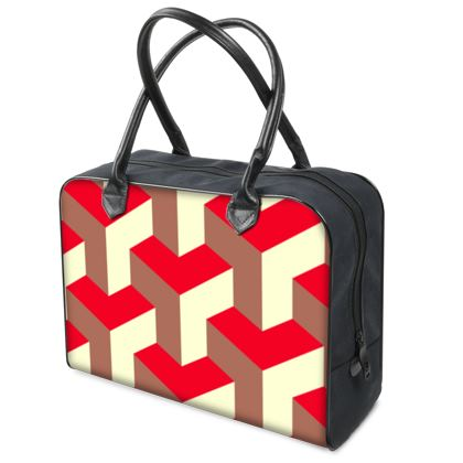 Heart in a cube - Holdalls - Abstract geometry, red, contrasting, bright, elegant, statement, futuristic, spectacular, graphic, noble, asymmetrical, effective, stylish gift - design by Tiana Lofd