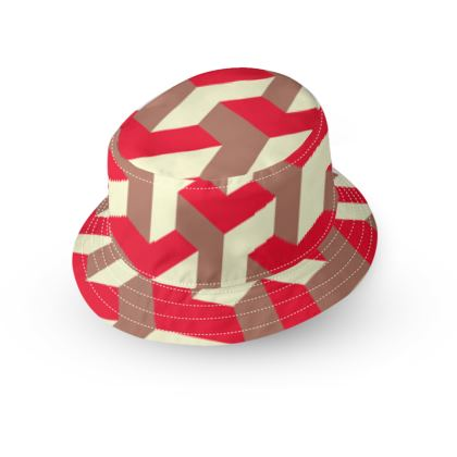 Heart in a cube - Bucket Hat - Abstract geometry, red, contrasting, bright, elegant, statement, futuristic, spectacular, graphic, noble, asymmetrical, effective, stylish gift - design by Tiana Lofd