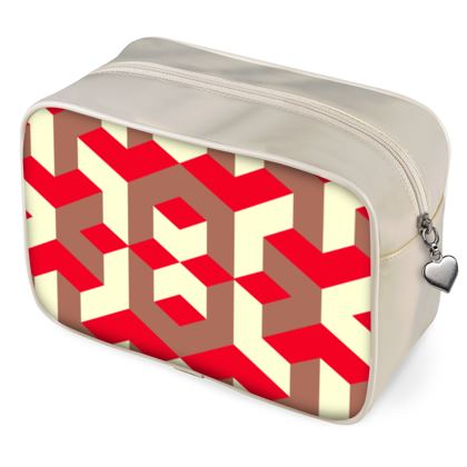 Heart in a cube - Wash Bags - Abstract geometry, red, contrasting, bright, elegant, statement, futuristic, spectacular, graphic, noble, asymmetrical, effective, stylish gift - design by Tiana Lofd