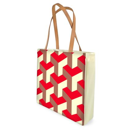 Heart in a cube - Shopper Bags - Abstract geometry, red, contrasting, bright, elegant, statement, futuristic, spectacular, graphic, noble, asymmetrical, effective, stylish gift - design by Tiana Lofd