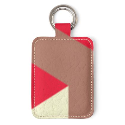 Heart in a cube - Leather Keyring - Abstract geometry, red, contrasting, bright, elegant, statement, futuristic, spectacular, graphic, noble, asymmetrical, effective, stylish gift - design by Tiana Lofd