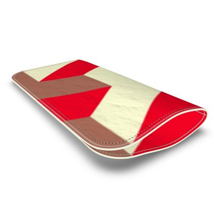 Heart in a cube - Leather Glasses Case - Abstract geometry, red, contrasting, bright, elegant, statement, futuristic, spectacular, graphic, noble, asymmetrical, effective, stylish gift - design by Tiana Lofd