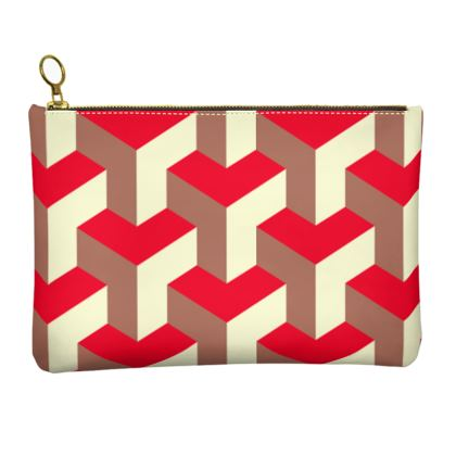 Heart in a cube - Leather Clutch Bag - Abstract geometry, red, contrasting, bright, elegant, statement, futuristic, spectacular, graphic, noble, asymmetrical, effective, stylish gift - design by Tiana Lofd