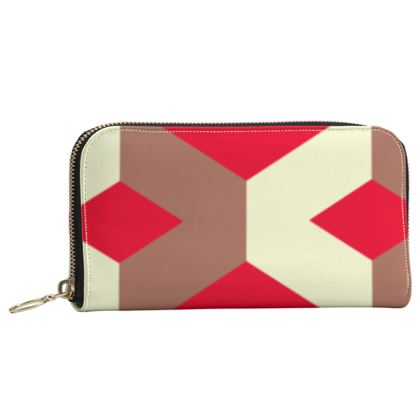 Heart in a cube - Leather Zip Purse - Abstract geometry, red, contrasting, bright, elegant, statement, futuristic, spectacular, graphic, noble, asymmetrical, effective, stylish gift - design by Tiana Lofd