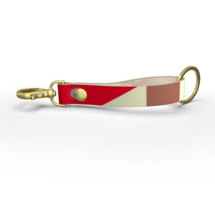 Heart in a cube - Strap Keychain - Abstract geometry, red, contrasting, bright, elegant, statement, futuristic, spectacular, graphic, noble, asymmetrical, effective, stylish gift - design by Tiana Lofd